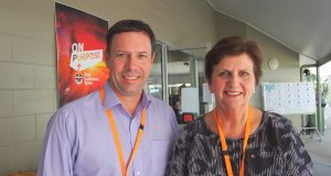 UnitingCare Queensland board member Craig Barke and CEO Anne Cross at the 32nd Synod. Photo by Holly Jewell.