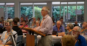 Bruce Johnson addresses the 32nd Synod presbytery Q&A panel. Photo by Ben Rogers.