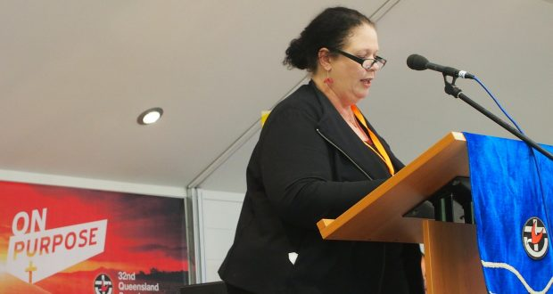 Assembly general secretary Colleen Geyer delivers her report to the 32nd Synod. Photo by Holly Jewell.