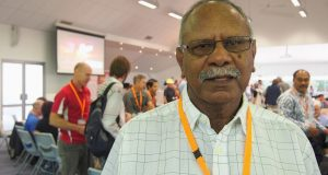 Uniting Aboriginal and Islander Christian Congress chair Rev Dennis Corowa at the 32nd Synod. Photo by Uniting Communications.