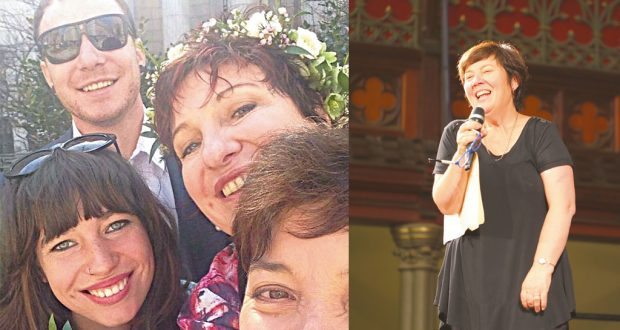 Julie McCrossin with her partner Melissa Gibson and their children Luke and Amelia Woods (left) & hosting the Q&A panel discussion during UnitingWomen 2016 (right). Photos: Supplied