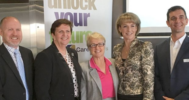 (L—R) Geoff Batkin, Anne Cross, Judy Wollin, Senator Michaelia Cash and Trevor Evans. Photo was supplied.
