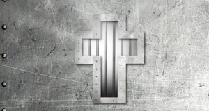 Prison door with Christian cross. Graphic created by Holly Jewell.