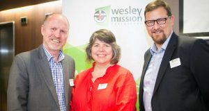 (L—R) Wesley Mission Queensland CEO Geoff Batkin, Queensland Synod general secretary Rev Heather den Houting and director of property and finance Peter Cranna at the launch. Photo by Wesley Mission Queensland.