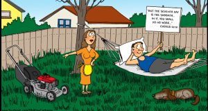 Cartoon of a husband lying on a hammock on the Sabbath and his wife pointing to a mower. By Phil Day.