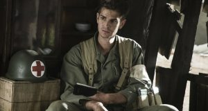 Andrew Garfield plays Desmond Doss in Mel Gibson's Hacksaw Ridge (2016). Photo by Icon Film Distribution.