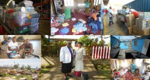 A collage of photos showing the damage of Cyclone Winston, goods in transit and their distribution. Photos were supplied.