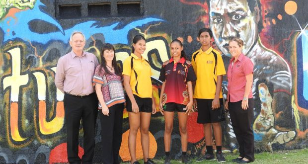 (L–R) Shalom principal Chris England, deputy principal Sandy Hindmarsh, students Dyontae, Kiarna, Djuvaan and registrar Jodi McLean. Photo: David Oxenburgh