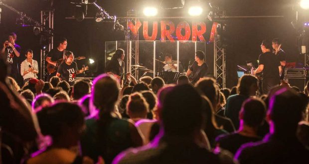 Young delegates enjoy a live musical performance at Yurora 2017. Photo: Josh Wyatt