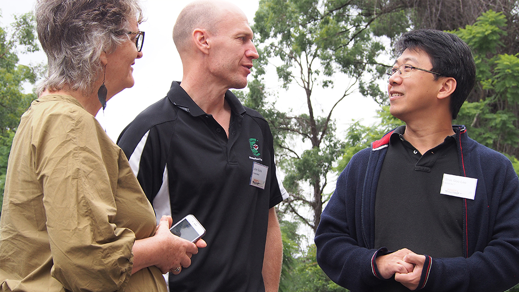 Rev Felicity Amery, Rev John Ruhle and Shin-goo Lee at the National Presbytery Ministers' gathering in Brisbane in April. Photo: Mardi Lumsden