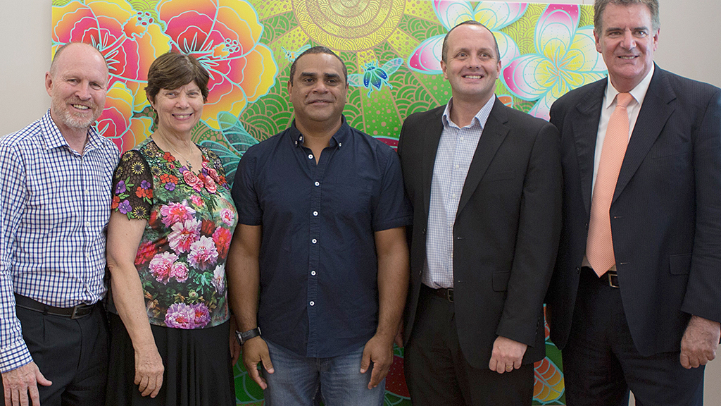 (L–R) Geoff Batkin (chief executive officer, WMQ), Rev Lyn Burden (Superintendent minister, WMQ), artist Luke Mallie, Steve Eltis (director of People and Culture, WMQ) and Hon Mark Furner (Minister for Aboriginal and Torres Strait Islander Partnerships, Queensland government). Photo: Wesley Mission Queensland