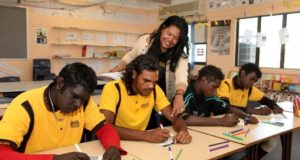 Tanya Salam with students at Shalom Christian College. Photo: Supplied